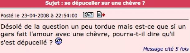 chevre perles des forums