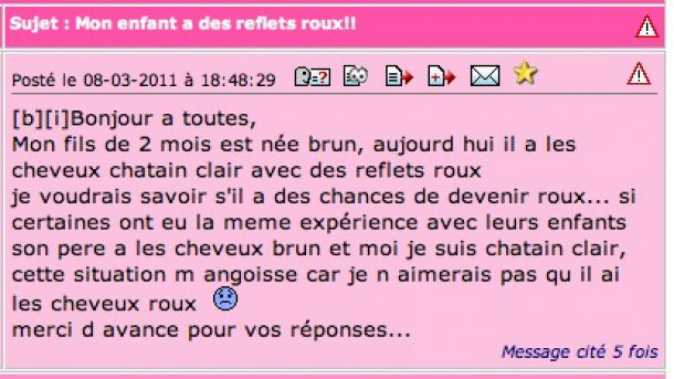enfant roux perles de forums