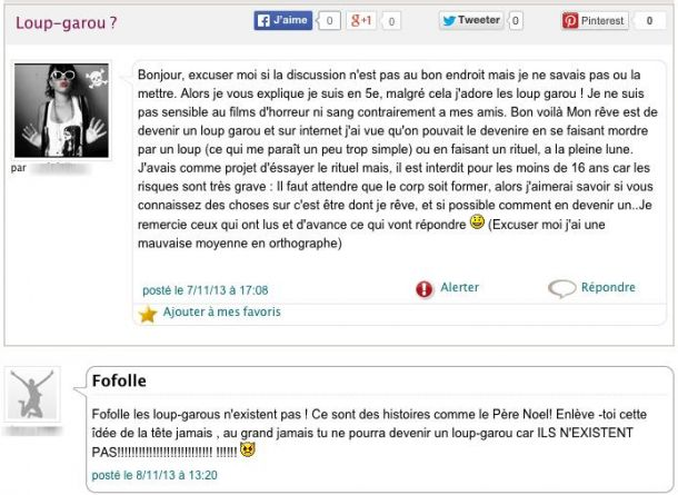 loup garou perles des forums