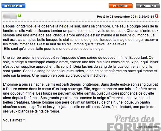 texte bizarre perles de forums